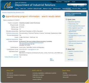 Quality Apprenticeship on CA.gov website