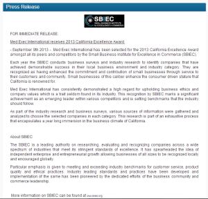 2013-SBIEC-CA-Excellence-Award-PR