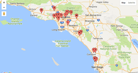 Map of startup incubator list in southern California Los Angeles County, Orange County and San Diego County